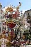 Las Fallas, papermache modele wystawiający podczas tradycyjnego świętowania w pochwale dla St Joseph Marzec 15, 2018 w Walencja,  Fotografia Royalty Free