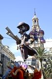 Las Fallas, papermache models displayed during traditional celebration in praise of St Joseph. March 15, 2018 in Valencia, Spa Royalty Free Stock Images