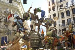 Las Fallas, papermache models displayed during traditional celebration in praise of St Joseph. March 15, 2018 in Valencia, Spa Royalty Free Stock Photos