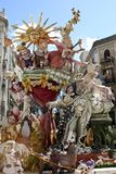 Las Fallas, papermache models displayed during traditional celebration in praise of St Joseph. March 15, 2018 in Valencia, Spa royalty free stock photography