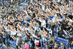 Las fans del equipo Dnipro apoyan a su equipo Fotografía de archivo
