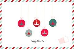 Las Felices Año Nuevo retras adornan la tarjeta de felicitación del árbol de pino Foto de archivo libre de regalías