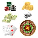 Las fichas de póker, monedas de oro con el dólar, dinero, aces naipes Fotos de archivo