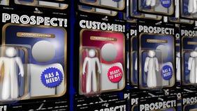 Las figuras de acción de las perspectivas del cliente encuentran a nuevos clientes stock de ilustración