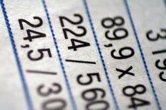 Las figuras tabulan las finanzas de la cuenta Fotografía de archivo libre de regalías