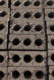 Las filas de ladrillos de un top abajo ven Fotografía de archivo