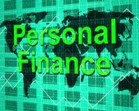 Las finanzas personales muestran ganancias y la contabilidad de los ahorros Imagen de archivo