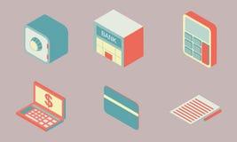 Las finanzas planas isométricas del icono del diseño fijan 3 libre illustration