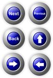 Las flechas azules brillantes de los botones después mueven hacia atrás Imagen de archivo