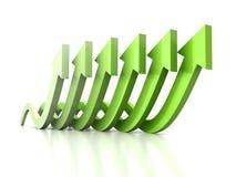 Las flechas crecientes de la onda ponen verde al grupo en la reflexión blanca Fotos de archivo