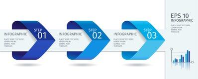 Las flechas de Infographic con intensifican opciones Plantilla del vector en estilo plano del diseño Imagen de archivo libre de regalías