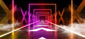Las flechas de la niebla del humo siguen la trayectoria moderna futurista oscura de Hall Reflective Neon Glowing Sci Fi del Grung ilustración del vector