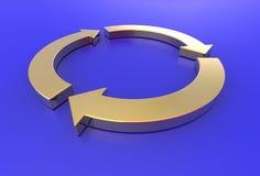 Las flechas del oro reciclan Fotografía de archivo libre de regalías