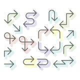 Las flechas finas fijaron - la línea simple navegacional flechas para la página web stock de ilustración