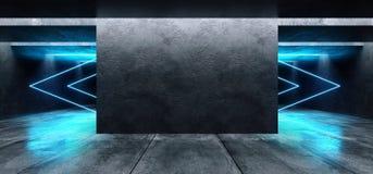 Las flechas formaron brillar intensamente cinemático azul blanco del espacio del Grunge de las luces de neón del laser del garaje stock de ilustración
