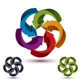 Las flechas resumen la plantilla conceptual del símbolo, pictograma del vector 3d Fotos de archivo libres de regalías