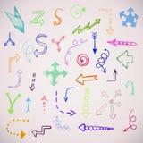 Las flechas simples dibujadas mano fijaron hecho en vector Imágenes de archivo libres de regalías