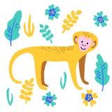 Las flores animales salvajes de la planta del mono divertido del vector hojean ejemplo lindo fijado libre illustration