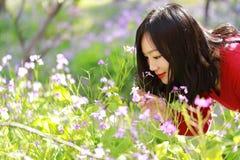 Las flores causual descuidadas libres del olor de la muchacha de la belleza en parque de la primavera disfrutan de tiempo libre Fotos de archivo libres de regalías