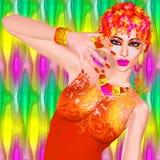 Las flores coloridas adornan este ejemplo de la moda y de la belleza de una mujer bonita