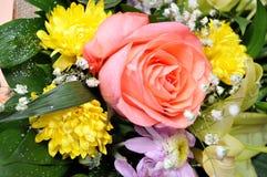 Las flores coloridas, anaranjadas, rojas, púrpuras, verdes se adoptan como regalo de boda Imagen de archivo libre de regalías