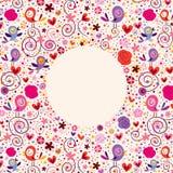 Las flores, corazones, pájaros aman el fondo del marco del círculo de la naturaleza Fotografía de archivo