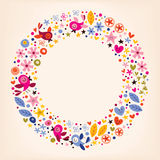 Las flores, corazones, pájaros aman el fondo retro del marco del círculo de la naturaleza Imágenes de archivo libres de regalías