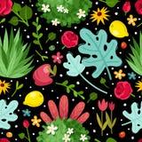 Las flores cultivan un huerto modelo inconsútil stock de ilustración