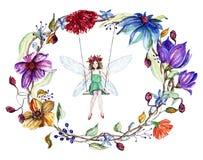 Las flores de la acuarela enrruellan y una hada en un oscilación Fotos de archivo libres de regalías