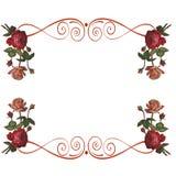 Las flores de las rosas enmarcan el fondo Fotografía de archivo