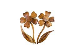 Las flores de madera juegan para la decoración aislada en blanco Imagen de archivo