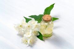 Las flores del philadelphus en alguna parte llamaron el jazmín o naranja falsa y una botella de aceite en una tabla de madera bla fotografía de archivo libre de regalías