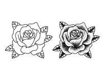 Las flores del tatuaje fijaron el trabajo del punto libre illustration