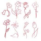 Las flores diseñan el conjunto stock de ilustración