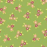 Las flores ditsy dispersadas ponen verde el modelo inconsútil coralino rosado del vector Pequeño fondo de repetición floral popul ilustración del vector