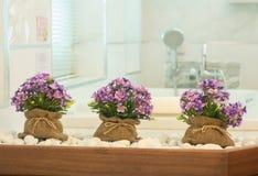 Las flores en bolso del saco adornan en cuarto de baño Fotos de archivo libres de regalías