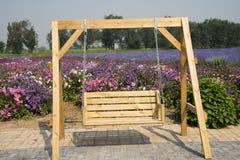Las flores en la plena floración, silla colgante imagenes de archivo