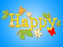 Las flores felices representan a Joy Bouquet And Fun Imágenes de archivo libres de regalías