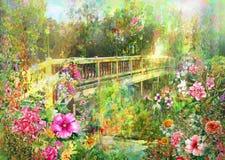 Las flores multicoloras de la primavera abstracta acercan a la pintura de la acuarela del puente del canal Foto de archivo