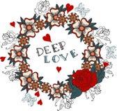 Las flores para la tarjeta del día de San Valentín diseñan, estilo del tatuaje de la escuela vieja Imagenes de archivo