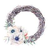 Las flores pintadas a mano de la anémona de la acuarela enrruellan en estilo del vintage Imágenes de archivo libres de regalías