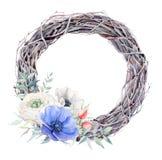Las flores pintadas a mano de la anémona de la acuarela enrruellan en estilo del vintage Foto de archivo libre de regalías