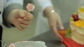 Las flores poner crema para un arty se apelmazan con la fresa, uvas, y el kiwi es hecho por un cocinero almacen de metraje de vídeo