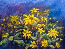 Las flores que pintan, margaritas amarillas de las flores salvajes, girasoles anaranjados en un fondo azul, pinturas al óleo ajar libre illustration