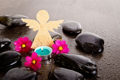 Las flores rosadas del cosmos, la vela azul del tealight y el ángel de la arpillera forman Foto de archivo libre de regalías
