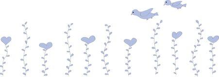 Las flores son corazones y dos pájaros Imagen de archivo