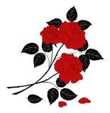 Las flores subieron, silueta ilustración del vector