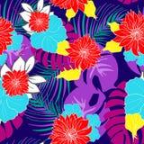 Las flores tropicales hawaianas dibujadas mano hermosa repitieron vector del modelo Foto de archivo