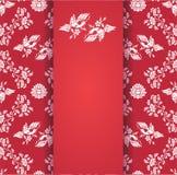 Las flores y el pájaro del vintage wallpaper la tarjeta central roja Fotos de archivo libres de regalías