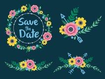 Las flores y las flechas ahorran la fecha Fotos de archivo
